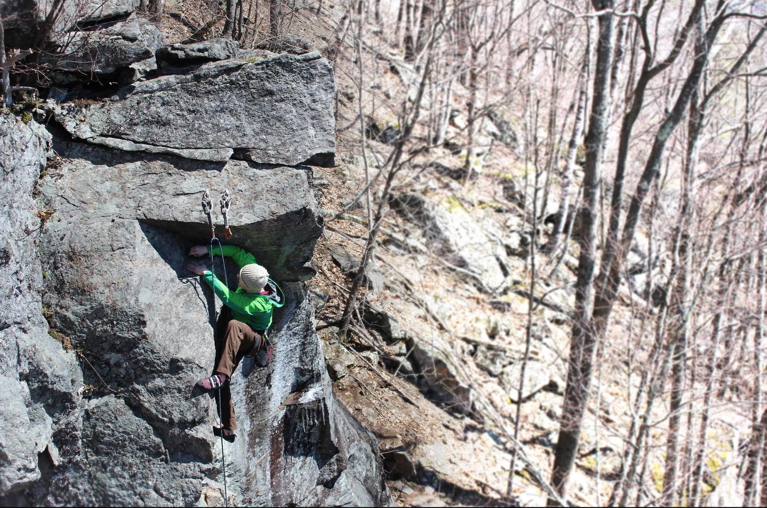 Alec Woolley on full throttle 5.12b as spring tries to get a grip.